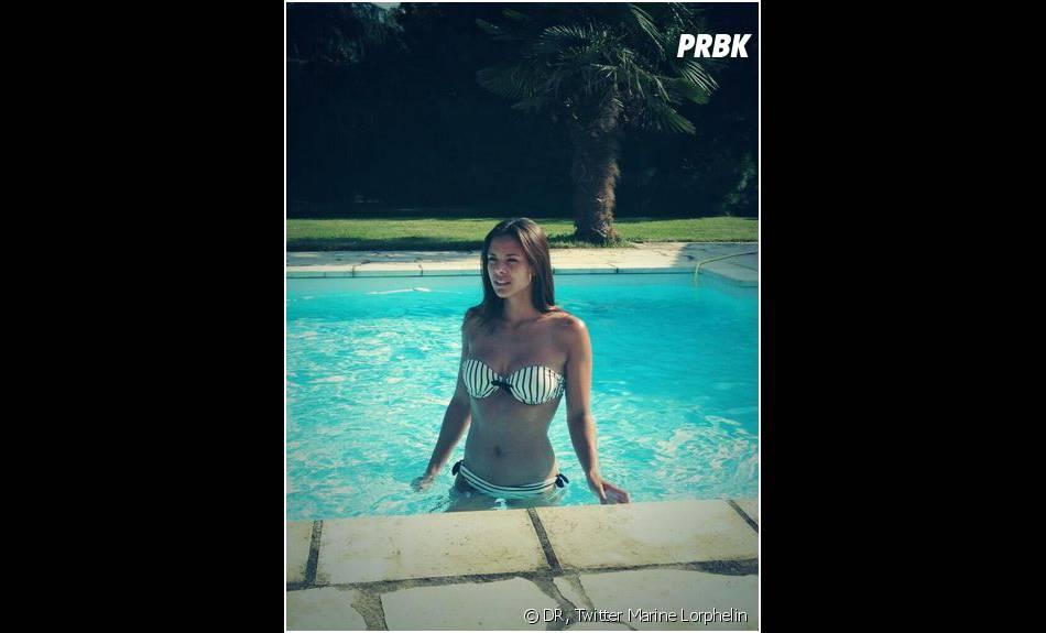 Marine Lorphelin (Miss France 2013)en bikini sur Twitter le 16 juillet 2013