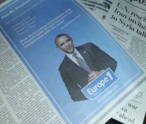 Barack Obama demandé en interview par Europe 1 dans une publicité publiée dans le Washington Post