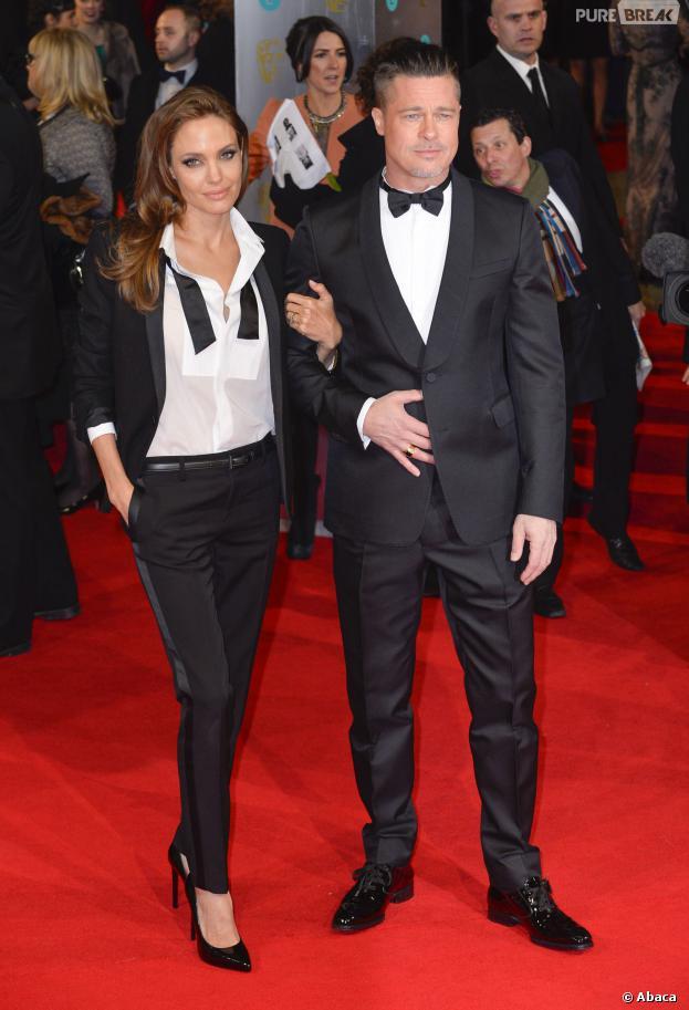 Angelina Jolie et Brad Pitt sur le tapis rouge des BAFTA Film Awards 2014 à Londres, le 16 février 2014
