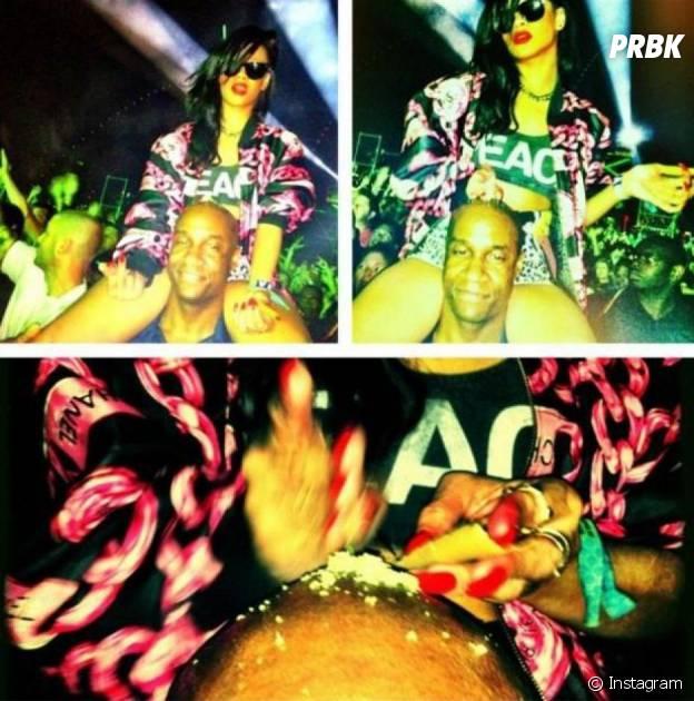 Rihanna : en avril 2012 à Coachella, elle poste une photo d'elle prenant un rail de coke