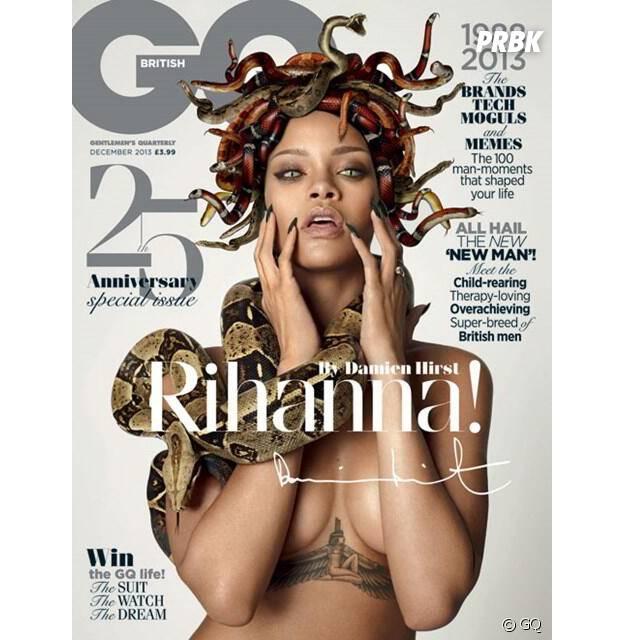 Rihanna, sulfureuse et provoc, pose pour Damien Hirst en Une du magazine GQ d'octobre 2013