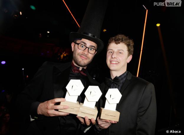 Cyprien et Norman aux Web Comedy Awards 2014 organisés par W9, Youtube et Orangina, à Paris le 21 mars 2014