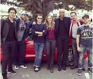 Thierry Henry, Adrian Grenier et le cast du film Entourage, le 1er avril 2014 à Los Angeles