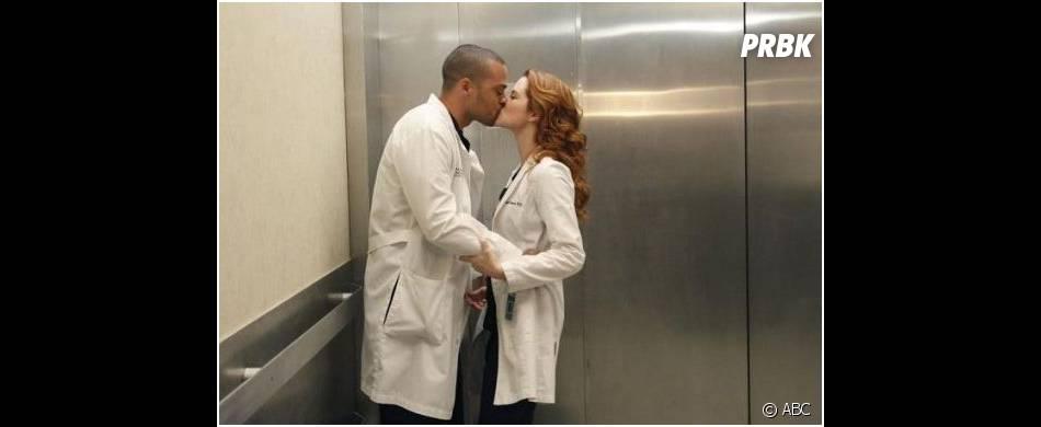 Grey's Anatomy saison 10, épisode 18 : Sarah Drew et Jesse Williams sur un photo promo