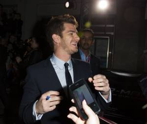 The Amazing Spider-Man 2 : Andrew Garfield à l'avant-première du film à Paris le 11 avril 2014