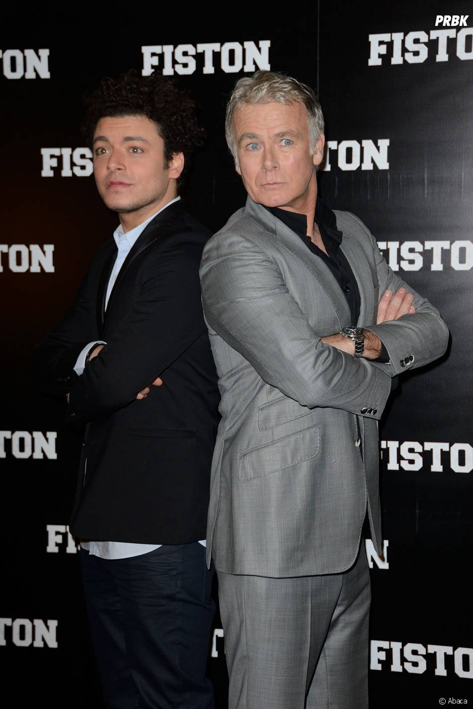 Kev Adams et Franck Dubosc pendant la promo de la comédie Fiston, au cinéma le 12 mars 2014