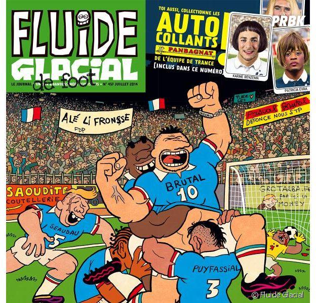 Les Bleus relookés en femmes pour le numéro spécial Coupe du Monde 2014 du magazine Fluide Glacial