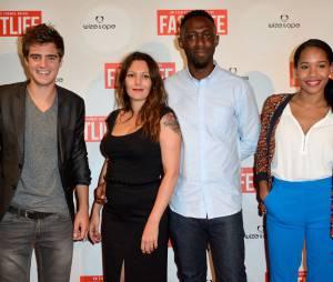 Karole Rocher, Thomas Ngijol et le cast à l'avant-première du film Fastlife réalisé par Thomas Ngijol, le 15 juillet 2014 à Paris