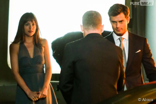 Dakota Johnson et Jamie Dornan sur le tournage du film Fifty Shades of Grey