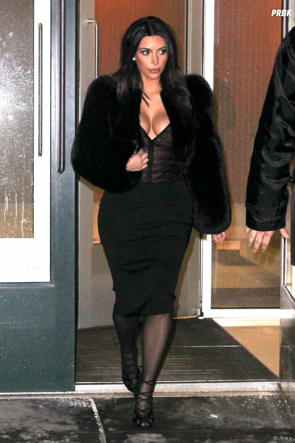 Kim Kardashian : bimbo décolletée à NY, le 16 février 2014