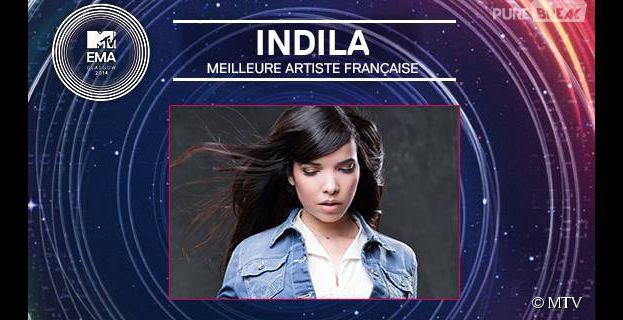Indila : meilleure artiste française aux MTV EMA 2014, et en compétition pour le titre de meilleure artiste internationale à Glasgow, le 9 novembre 2014