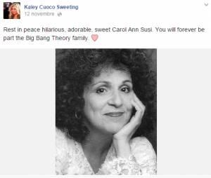 Hommage de Kaley Cuoco à l'actrice de TBBT décédée