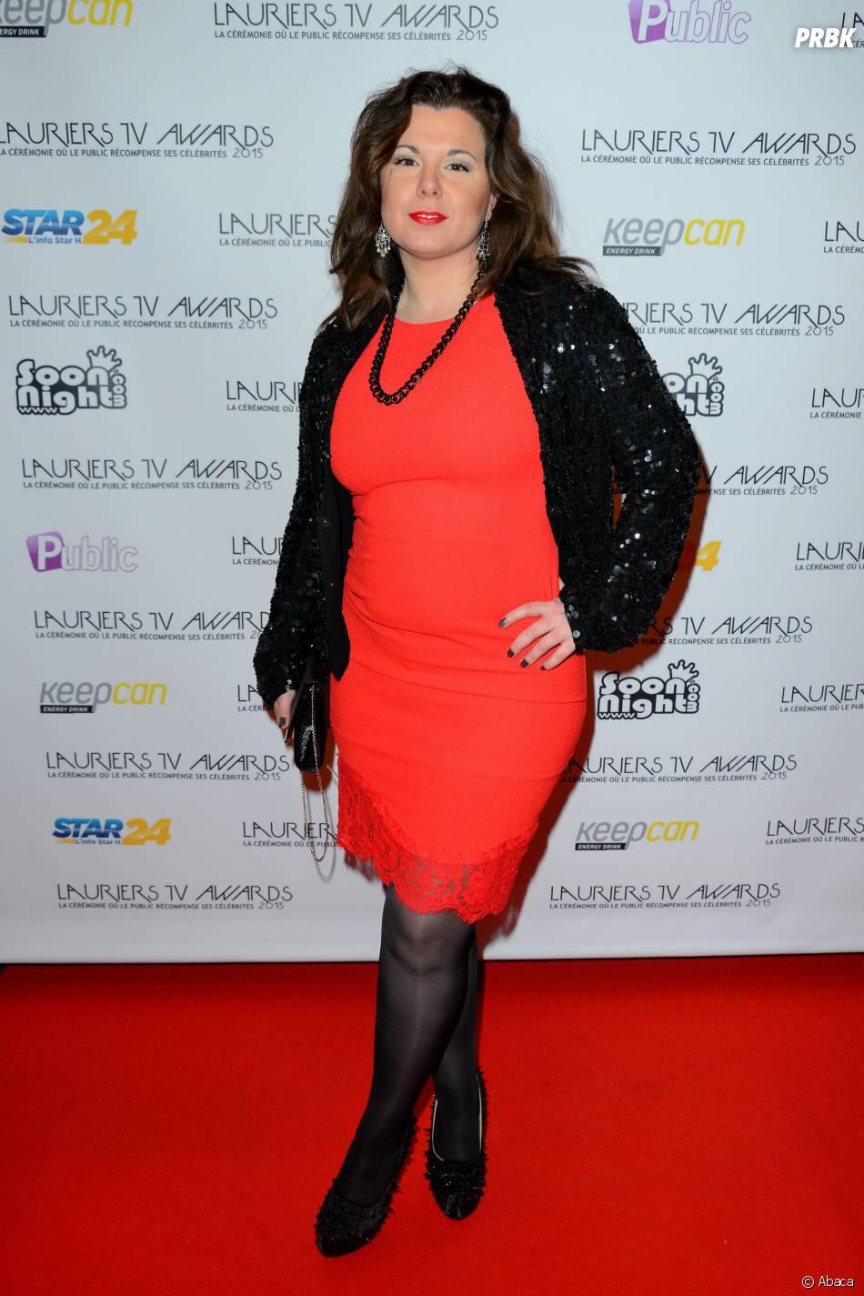 Cindy Lopes sur le tapis-rouge de la cérémonie des Lauriers TV Awards le 6 janvier 2015 à Paris