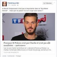 """M. Pokora taclé par Frédérique Bel sur Facebook : """"il en a rien à foutre de la liberté d'expression"""""""