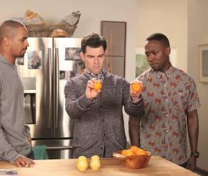 New Girl saison 4 : Coach (Damon Wayans Jr), Schmidt (Max Greenfield) et Winston (Lamorne Morris)