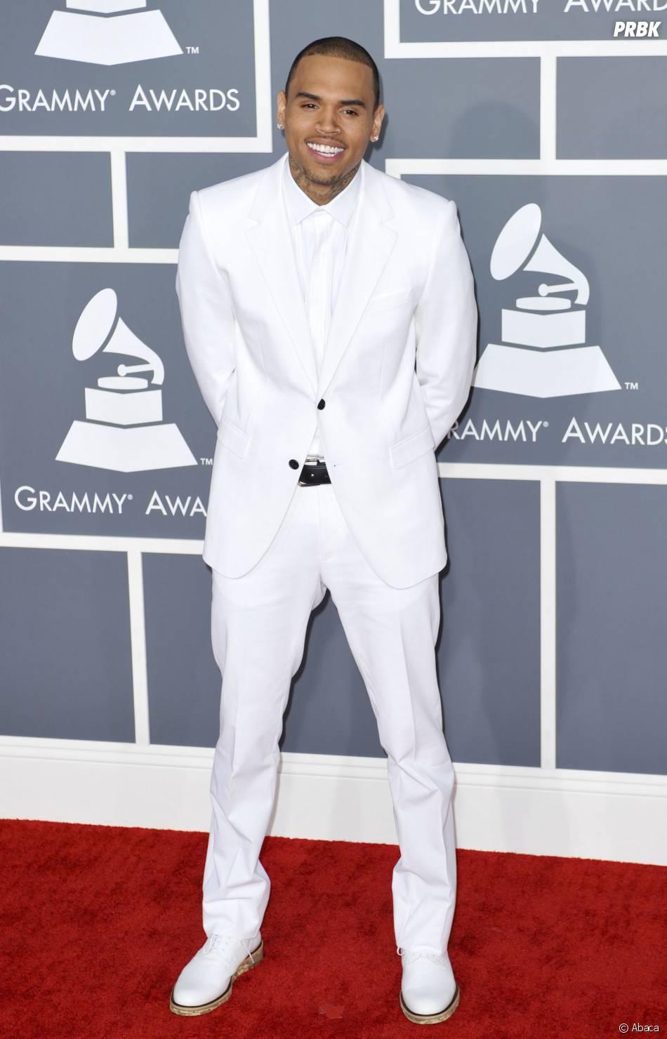 Chris Brown sur le tapis rouge des Grammy Awards 2013