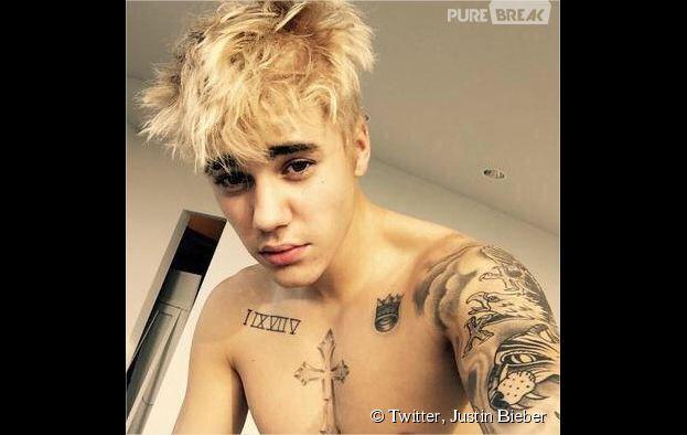 Justin Bieber blond et torse nu sur une photo Instagram