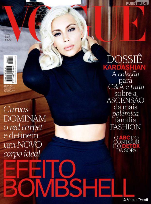 Kim Kardashian sexy en couverture du magazine Vogue Brasil, juin 2015