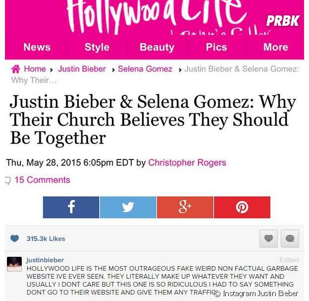 Justin Bieber tacle Hollywood Life