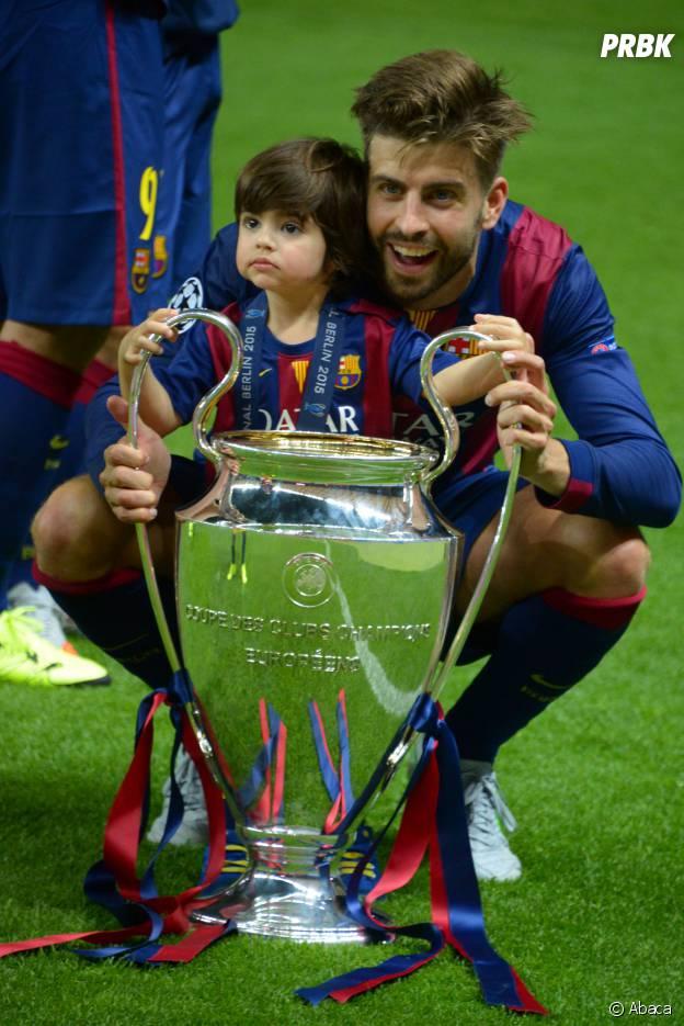 Gerard Piqué et son fils Milan le 6 juin 2015
