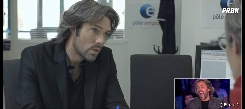 Nicolas Bedos déguisé en Aymeric Caron pour ses adieux au journaliste dans On n'est pas couché le 27 juin 2015