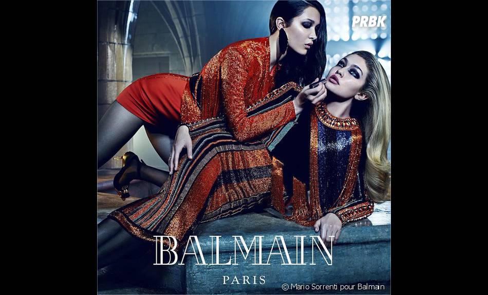 Bella et Gigi Hadid, égéries de la nouvelle campagne Balmain shootée par Mario Sorrenti, automne-hiver 2015