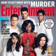 Murder : Viola Davis entourée de Alfred Enoch, Jack Falahee, Matt McGory, Aja Naomi King et Karla Souza en couverture de Entertainment Weekly