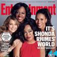 Shonda Rhimes pose avec Ellen Pompeo, Kerry Washington et Viola Davis en couverture de Entertainment Weekly