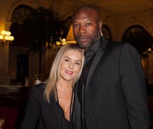 William Gallas et sa femme au gala Enfance & Cancer, le 9 septembre 2015 à Paris