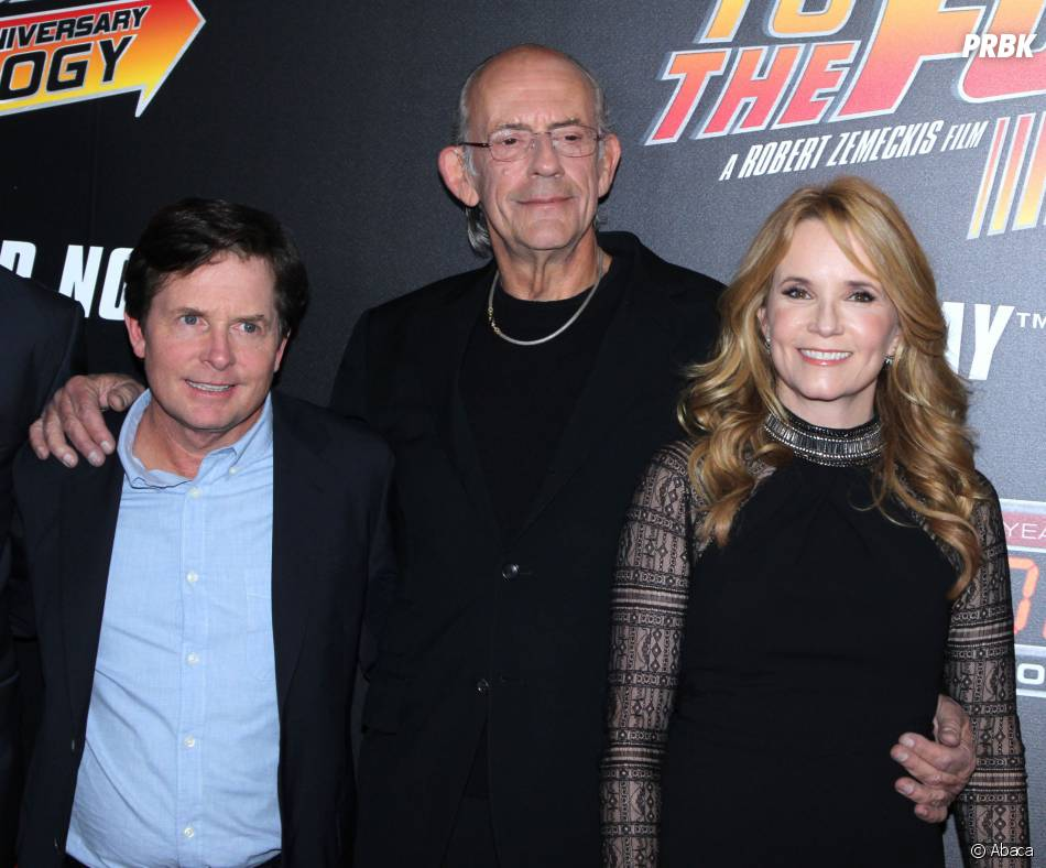 Michael J. Fox, Christopher Lloyd et Lea Thomson à la projection du 30ème anniversaire de Retour vers le futur, le 21 octobre 2015