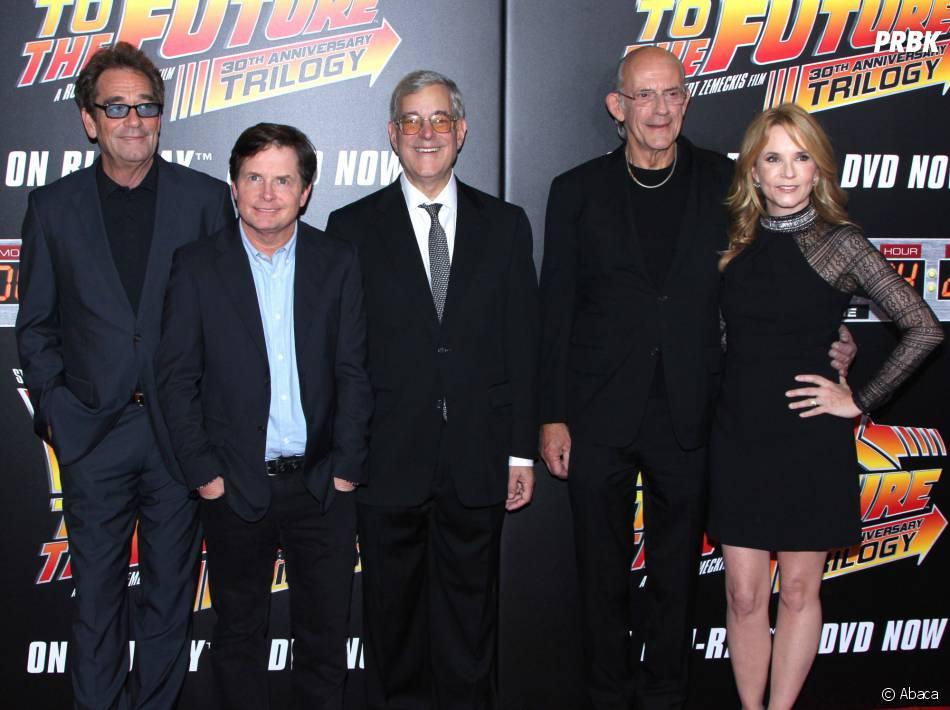 Huey Lewis, Michael J. Fox, Bob Gale,Christopher Lloyd et Lea Thomsonà la projection du 30ème anniversaire de Retour vers le futur, le 21 octobre 2015
