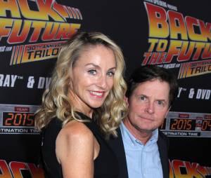 Michael J. Fox et sa femme à la projection du 30ème anniversaire de Retour vers le futur, le 21 octobre 2015