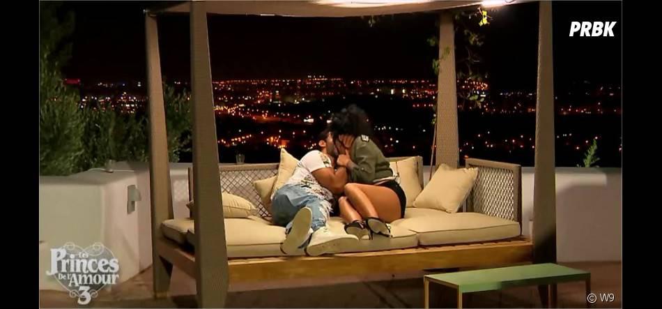 Gabano embrasse Mélissa (Les Princes de l'amour 3) dans l'épisode du 4 janvier 2015 sur W9