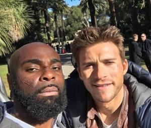 Kaaris et Scott Eastwood sur le tournage du film Overdrive à Los Angeles, février 2016