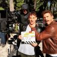 Scott Eastwood sur le tournage du film Overdrive à Los Angeles, février 2016