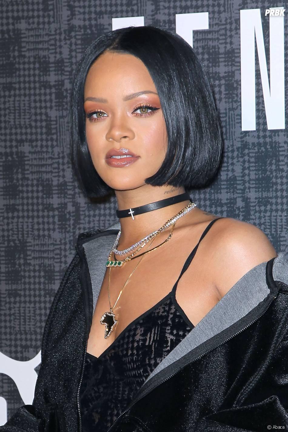 Rihanna pour le défilé Fenty Puma by Rihanna pendant la Fashion Week de New-York, le 12 février 2016