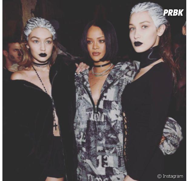 Bella Hadid, Rihanna et Gigi Hadid pour le défilé Fenty Puma by Rihanna pendant la Fashion Week de New-York, le 12 février 2016
