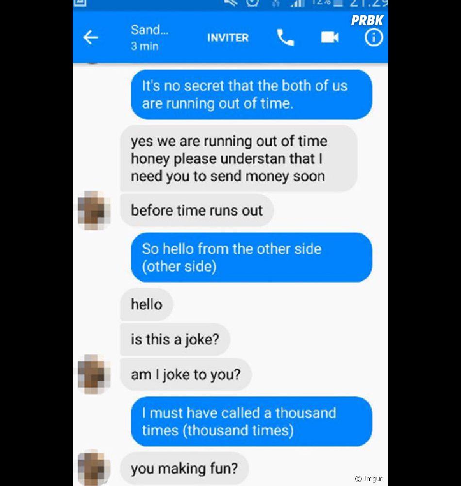 """Il   utilise """"Hello"""" d'Adele pour répondre à une arnaque sur Facebook 9/10"""