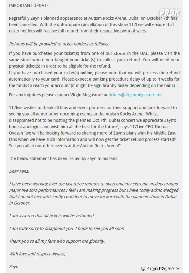 Zayn Malik s'excuse après l'annulation de son concert à Dubaï