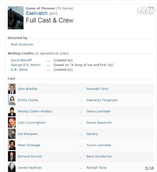 Game of Thrones saison 7 : le retour de Gendry spoilé sur IMDB ?