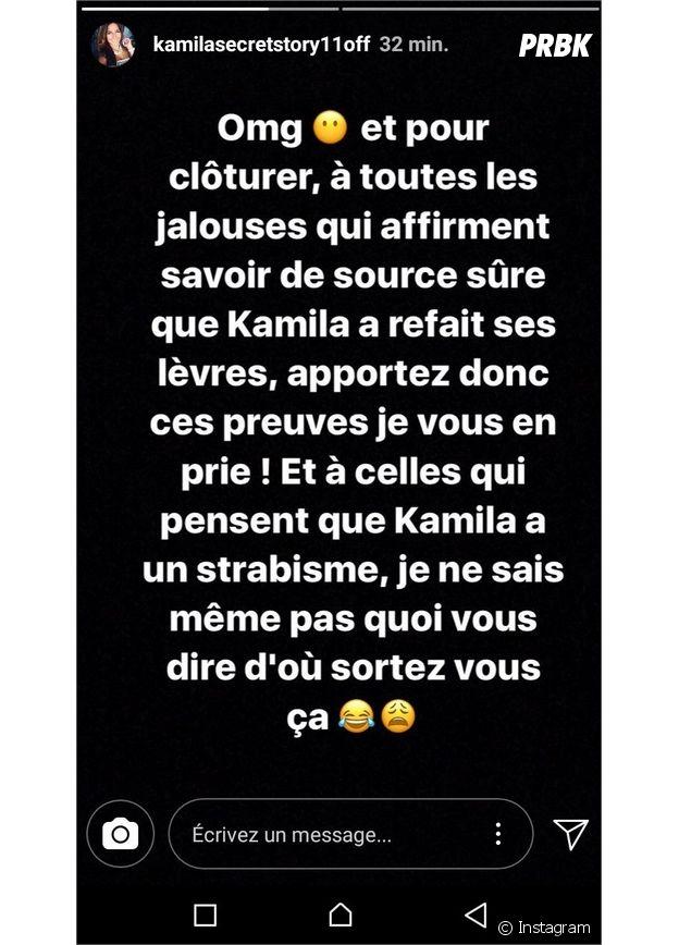 Kamila (Secret Story 11) : sa soeur répond aux accusations de lèvres refaites sur Instagram Stories