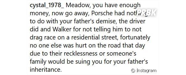 Paul Walker : des internautes attaquent sa fille Meadow