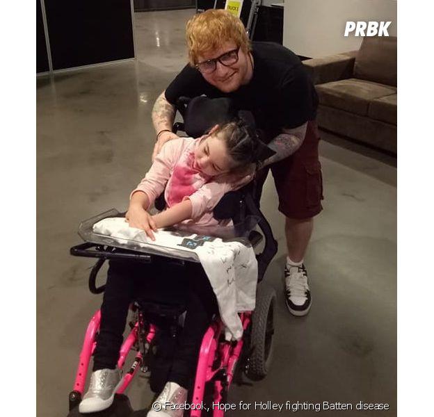 Ed Sheeran a réalisé le rêve d'Holley Lavington, une enfant malade qui est fan de lui, en allant la rencontrer avant son concert !