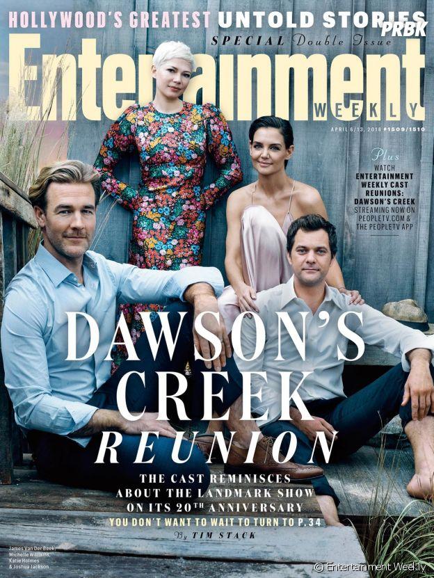 James Van Der Beek, Michelle Williams, Katie Holmes et Joshua Jackson posent pour les retrouvailles de Dawson pour fêter les 20 ans de la série