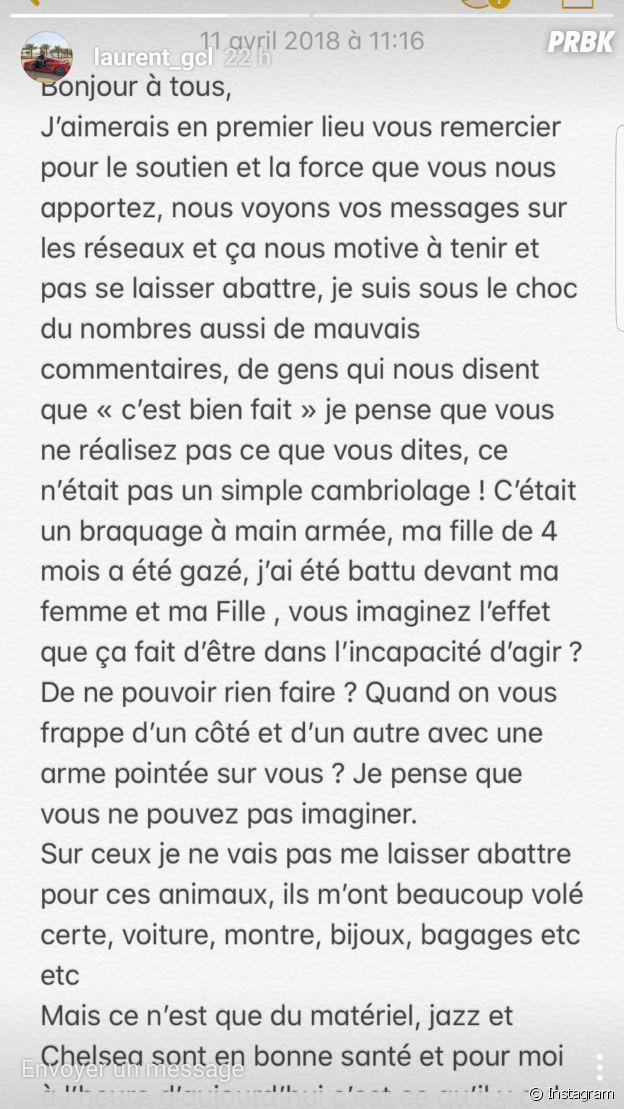 """Jazz agressée, son petit ami Laurent s'exprime enfin : """"j'ai été battu devant ma femme et ma fille"""""""