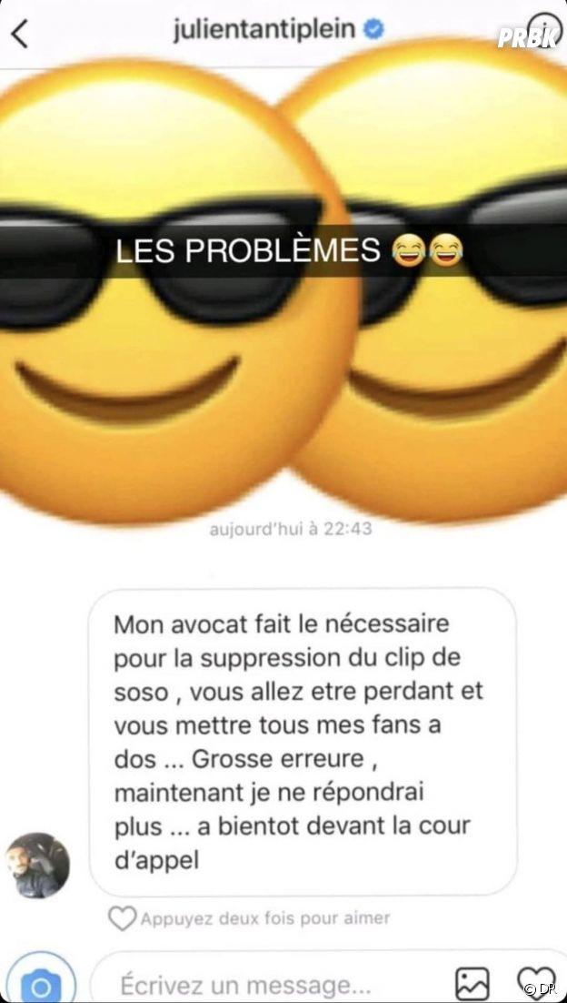 Julien Tanti répond à Soso Maness sur Instagram