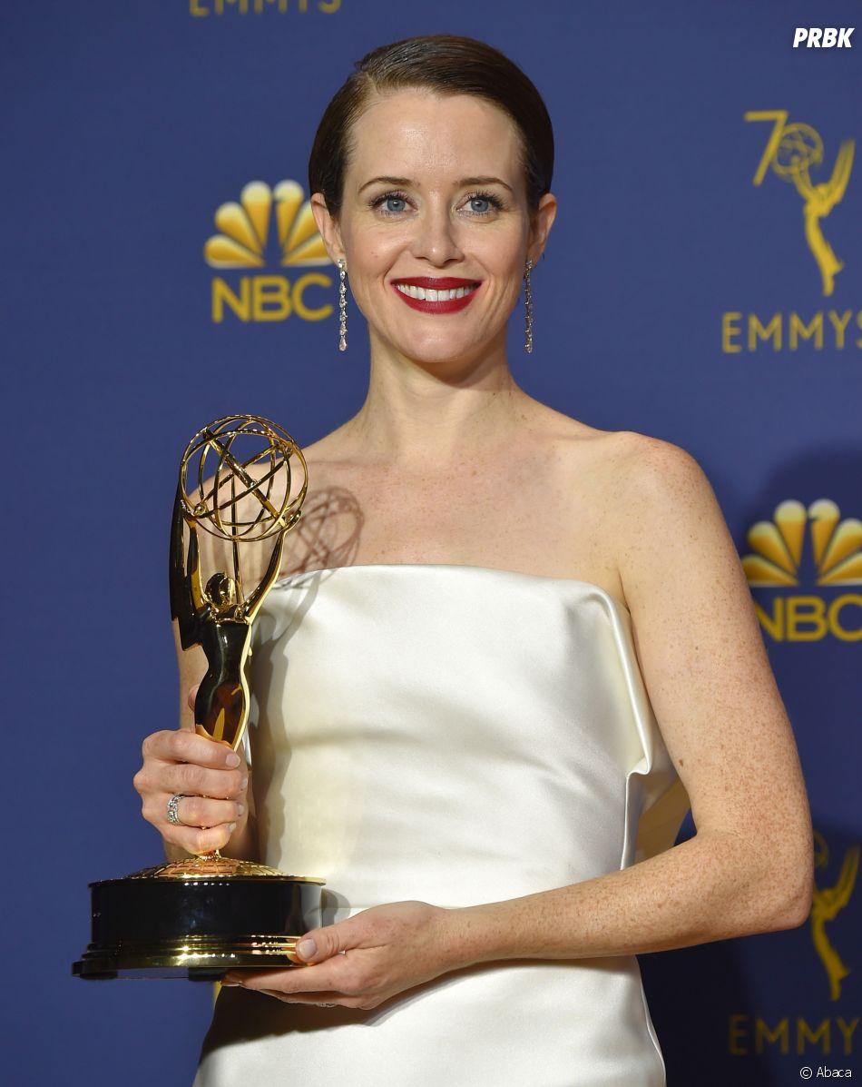 Claire Foy gagnante aux Emmy Awards 2018 le 17 septembre à Los Angeles