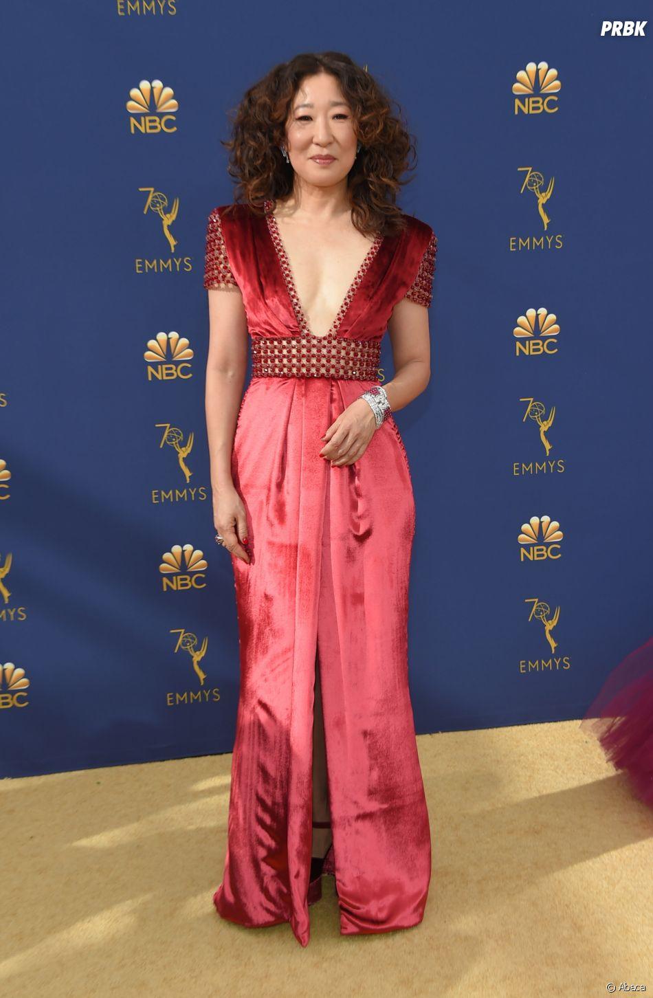 Sandra Oh sur le tapis rouge des Emmy Awards 2018 le 17 septembre à Los Angeles