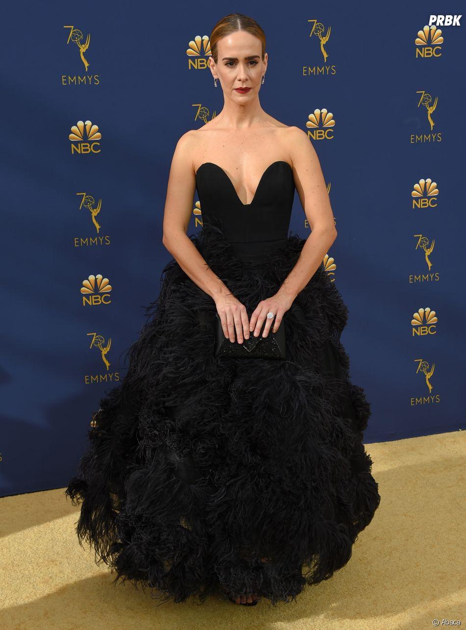 Sarah Paulson sur le tapis rouge des Emmy Awards 2018 le 17 septembre à Los Angeles