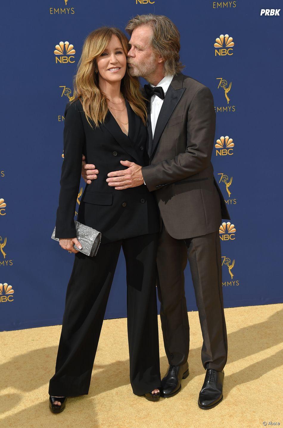 Felicity Huffman et son mari William H. Macy sur le tapis rouge des Emmy Awards 2018 le 17 septembre à Los Angeles